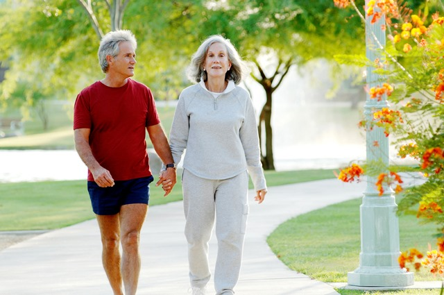 senior couple holding hands walking in a park