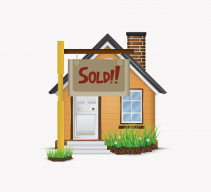 """Downsizing: illustration showing home with """"Sold"""" sign"""