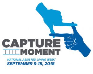 "National Assisted Living Week Logo: ""Capture the Moment"" with two hands interlocking to form a frame."