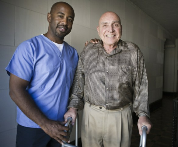 man after hip replacement surgery
