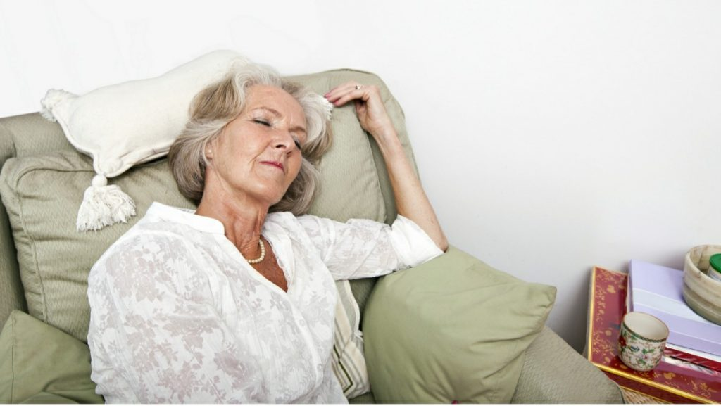 Older woman with senior sleeping issues